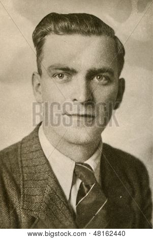 RAWICZ, POLAND, CIRCA 3 MAY 1946 - Vintage photo of unidentified young man, Rawicz, Poland, circa 3 May 1946