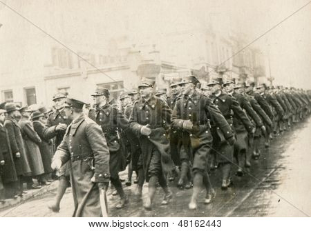 POLAND, CIRCA 1952- vintage photo of group of soldiers during military parade, Poland, circa 1952