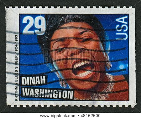 USA - CIRCA 1993: A stamp printed in USA shows image of the Dinah Washington, born Ruth Lee Jones (August 29, 1924 -December 14, 1963), was an American singer and pianist, circa 1993.