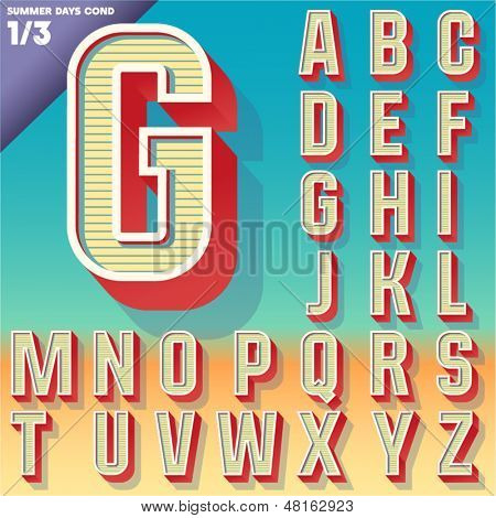 Vector retro alphabet for Summer typography design. Condensed style. Upper cases