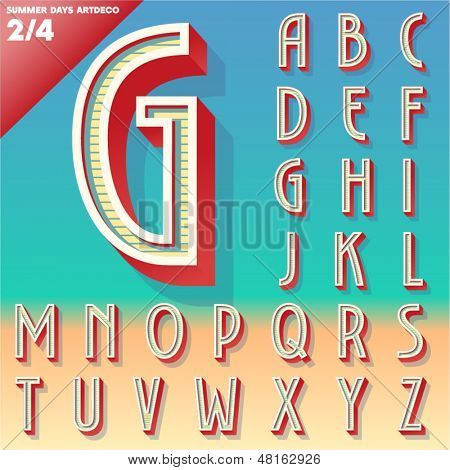 Vector retro alphabet for Summer typography design. Art Deco style. Upper cases condensed