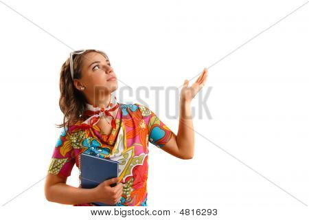 Attractive Beautiful Young Woman Holding A Notebook