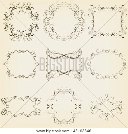 Calligraphic And Floral Frames Set. Vector Illustration