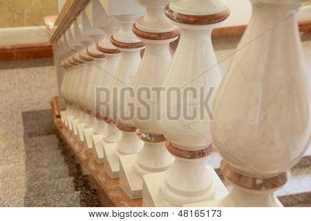 White And Gold Balustrade Pattern
