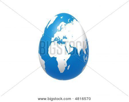 Egg World In Blue - Europe, Africa, Asia