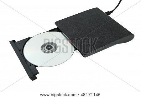 Portable Cd/dvd External Drive On White Background