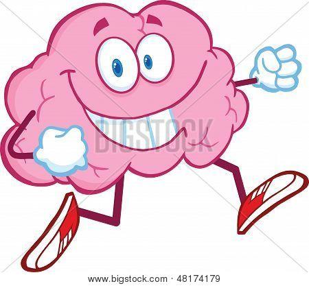 Healthy Brain Cartoon Character Jogging