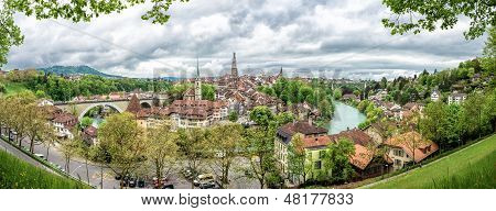Panorama With Church, Bridge And Houses With Tiled Rooftops, Bern