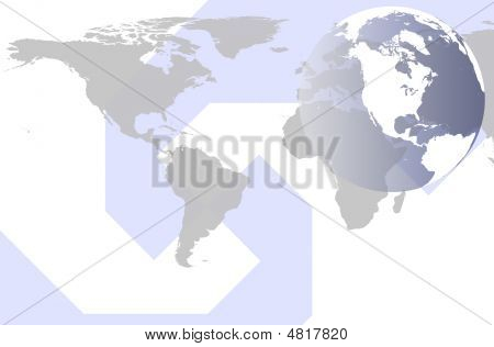 Modern Style World Map And Globe