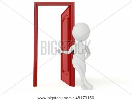 3D Humanoid Character Leans A Red Door
