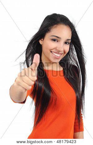 Beautiful Muslim Teenager Girl With Thumb Up