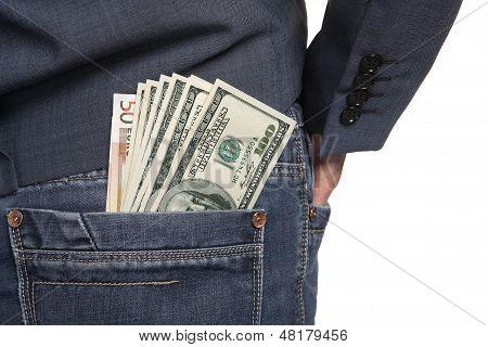 Pocket money, close-up