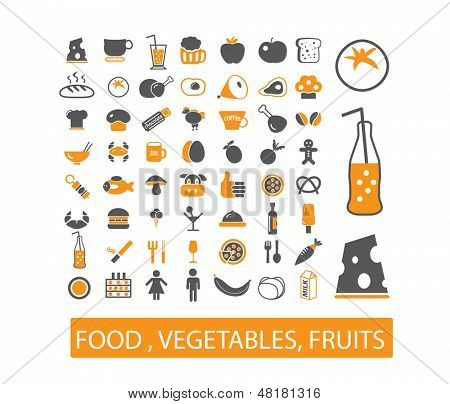 food, vegetables, fruits icons set, vector
