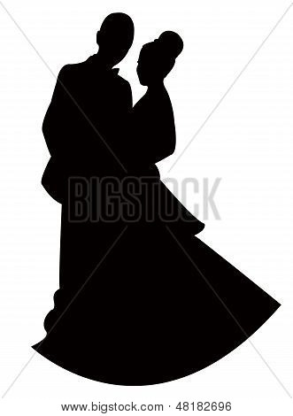 silhouette vector of a just married couple