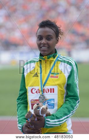 DONETSK, UKRAINE - JULY 14: Silver medalist in 800 metres Dureti Edao of Ethiopia on the medal ceremony during 8th IAAF World Youth Championships in Donetsk, Ukraine on July 14, 2013
