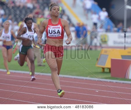 DONETSK, UKRAINE - JULY 14: Ky Westbrook of USA competes in the final round of medley relay during 8th IAAF World Youth Championships in Donetsk, Ukraine on July 14, 2013