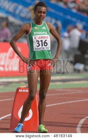 DONETSK, UKRAINE - JULY 14: Silver medalist Dureti Edao of Ethiopia before the final on 800 meters during 8th IAAF World Youth Championships in Donetsk, Ukraine on July 14, 2013