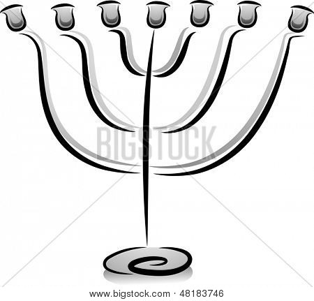 Illustration of a Candelabra in Black and White