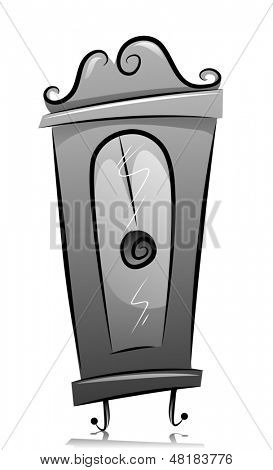 Illustration of Grandfather's Clock in Black and White