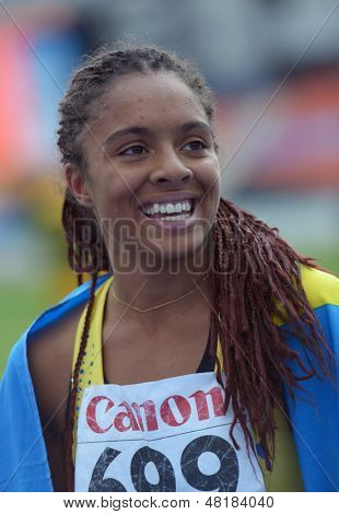 DONETSK, UKRAINE - JULY 14: Irene Ekelund of Sweden win the gold medal in the final on 200 metres during 8th IAAF World Youth Championships in Donetsk, Ukraine on July 14, 2013