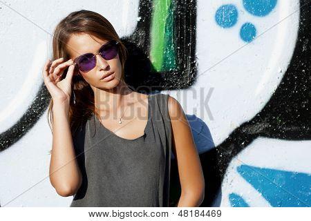 Girl Near Wall With Graffiti