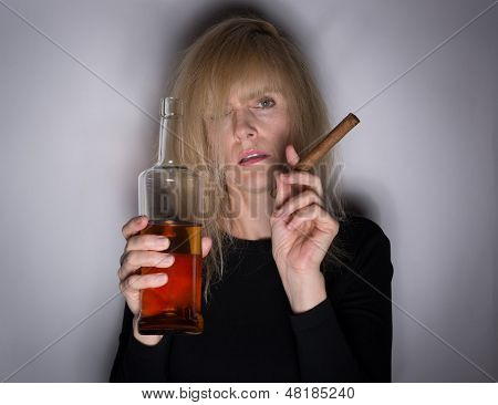 Alcoholic Woman With Cigar And Whiskey