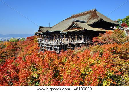 KYOTO - NOVEMBER 19: Kiyomizu-dera stage with fall colors November 19, 2012 in Kyoto, JP. Founded in the 700's, the present stage structure dates from 1633.