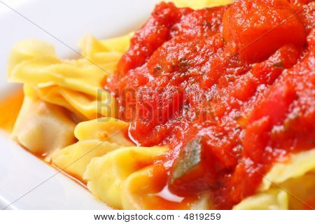Tortellini And Delicious Chunky Vegetable Tomato Sauce