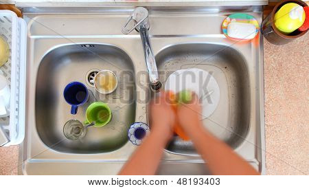 Washing-up Bowl Person Cleaning The Kitchen Sink