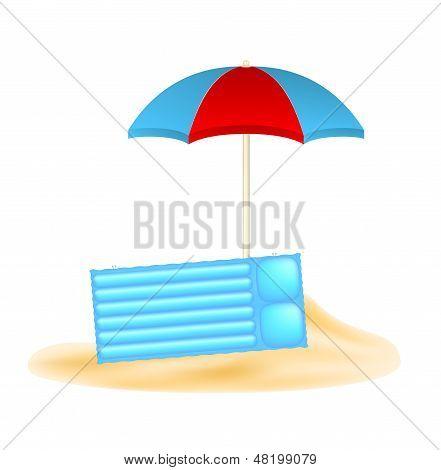 Beach concept with umbrella and air mattress