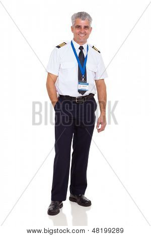 cheerful middle aged man wearing airline pilot uniform on white background