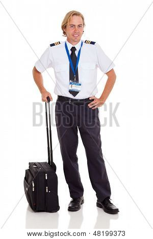 smiling airline pilot with briefcase isolated on white