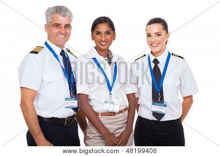 beautiful airline crew standing on white background