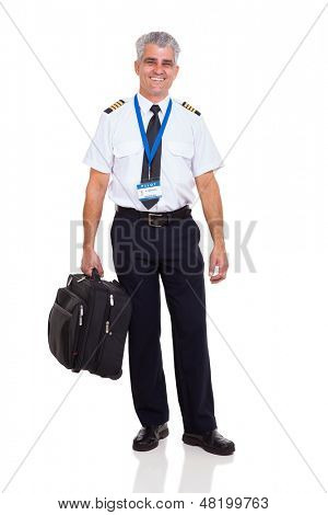 happy middle aged airline pilot carrying briefcase isolated on white background