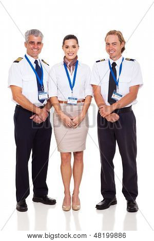 airline crew of pilots and flight attendant on white background