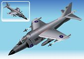 picture of afterburner  - Detailed Isometric Vector Illustration of a Royal Navy Sea Harrier FRS - JPG