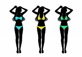 foto of one piece swimsuit  - set of three silhouettes of young women with long hair in colorful two - JPG