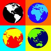 stock photo of eastern hemisphere  - 4 views of the world in Pop Art style - JPG