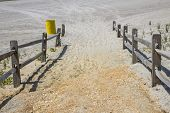foto of split rail fence  - A sandy path with a split - JPG
