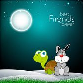 image of the hare tortoise  - Happy friendship day concept with tortoise and hare in shiny night background - JPG
