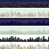 Wide Cityscape Different Time. Illustration
