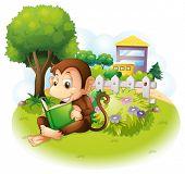 Постер, плакат: Иллюстрация обезьяны читая книгу возле растения с цветами на белом фоне