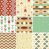 stock photo of apache  - Seamless geometric pattern in aztec style - JPG