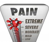 image of high fever  - A thermometer measuring your pain level with mercury rising past low - JPG