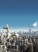 stock photo of collapse  - Collapsing tower in a science fiction city being attacked from above - JPG