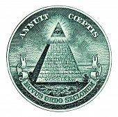 stock photo of illuminati  - Dollar mason pyramid on white background macro - JPG