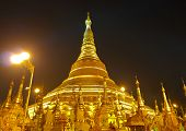 pic of yangon  - Night view of Shwedagon golden pagoda in Yangon Myanmar  - JPG
