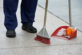 picture of sweeper  - Process of urban street cleaning sweeping - JPG