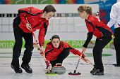 INNSBRUCK, AUSTRIA - JANUARY 17 Michael Brunner, Elena Stern and Lisa Gisler of team Switzerland bea