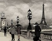 Drawing of a view of Alexander III bridge in Paris showing Eiffel tower. Nightfall  on a rainy autum